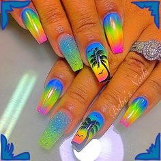Tropical coffin nails & shiny nails & green yellow blue coffin nails with palm & The post Tropical coffin nails Glow Nails, Shiny Nails, My Nails, Summer Acrylic Nails, Best Acrylic Nails, Nail Summer, Bright Nails For Summer, Bright Nails Neon, Bright Acrylic Nails