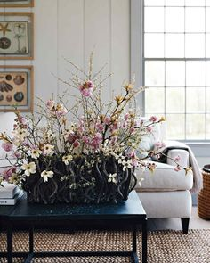 Cherry Blossom and Dogwood Arrangement | Martha Stewart Living - Jump-start spring by forcing branches of early-flowering trees and shrubs and displaying them in a lush arrangement.