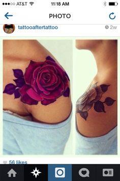 Flower shoulder tattoo color and no color