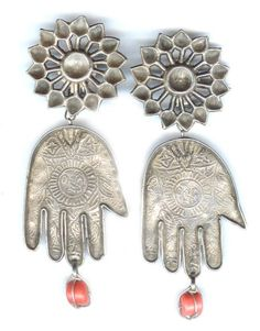 earrings flower tops hand drops - ethnic jewels