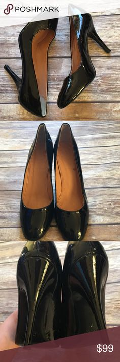 """J.Crew Patent Leather Pumps A classic J.Crew pump that can be worn any time. Patent leather, made in Italy. Worn a few times. The left heel has two small dings that are barely visible as shown in pic 3. Size 8. Heel is 4"""". J. Crew Shoes Heels"""