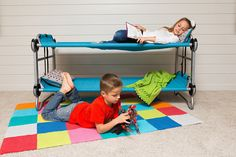 Disc-O-Bed Youth Kid-O-Bunk with Organizers, Teal Blue | Amazon.com: Outdoor Recreation