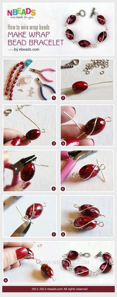 Tutorial DIY Wire Jewelry Image Description how to wire wrap beads - make wrap bead bracelet