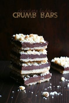 Chocolate Fudge Crumb Bars. Low carb and grain-free, these chocolate fudge crumb bars are my healthy answer to Starbucks' oatmeal fudge bars.