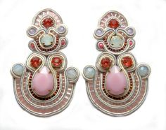 £60 #pink #white #opal #soutache #sutasz #embroidery #earrings #beaded #handmade #etsy #blackmarketjewels