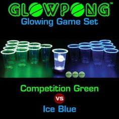 Glowpong Glowing Game Set - Competition Green VS Ice Blue 100 Beer Pong Playset for sale online Glow Stick Party, Glow Sticks, Party Drinks Alcohol, Alcoholic Drinks, Beer Pong Float, All You Need Is, Led Beer Pong Table, Drinking Games For Parties, Competition Games