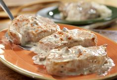 porkchops made easy - Made these last night and they were pretty good and very easy and fast. Nice to have a different flavor for porkchops. Leo did not even know there was cream of mushroom in it!.....Still does not LOL