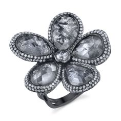 Raw Diamond Flower Ring, made out of 18 Karat White Gold, accented with Diamonds #FlowerRing #WhiteGold #MichaelBarin