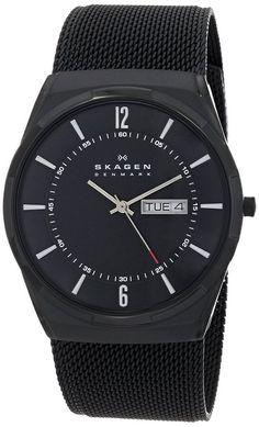 """Skagen Men's SKW6006 """"Melbye"""" Black Titanium Watch with Mesh Band"""