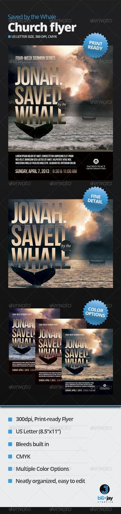 Buy Saved by the Whale Church Flyer Template by blujaycreative on GraphicRiver. Letter-size flyer is perfect for a sermon series, weekend conference, Bible study, concert, and more. Flyer Design Templates, Print Templates, Flyer Template, Psd Templates, Teamwork Activities, Typography Design, Lettering, Save The Whales, Sermon Series