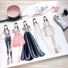 Fabulous Doodles Fashion Illustration blog by Brooke Hagel: Sketches Inspired by Resort Collections #FashionIllustrations