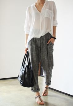 white shirt, comfy pants, sandals.