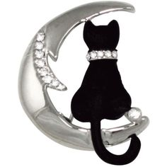 Cat On The Moon Swarovski Crystal and Enamel Silver Tone Cat Brooch (610 MXN) ❤ liked on Polyvore featuring jewelry, brooches, silvertone jewelry, cat brooch, swarovski crystal jewellery, enamel jewelry and cat jewelry