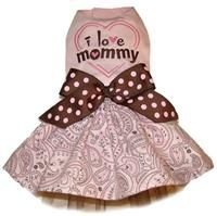 I Love Mommy Pink and Brown Dog Dress