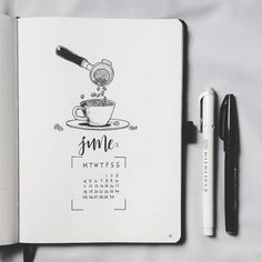 Bullet journal monthly cover page, June cover page, coffee drawing. | @bujowithdaya