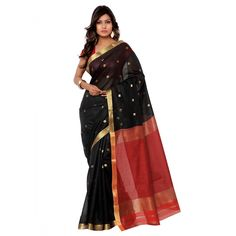 Black Chanderi Festival #Saree With Blouse- $37.44