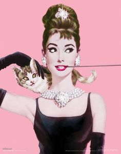 Breakfast At Tiffanys - Pink background and that long cigarette holder. and cat. love it. #livebrightly