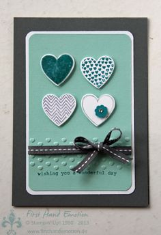 First Hand Emotion: Stampin Up.  I like the dry embossed detail on only a portion of he card. Simple, but striking.