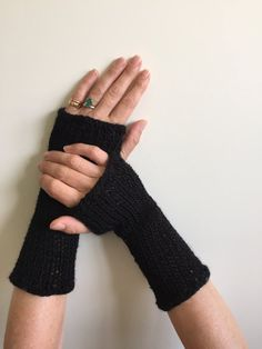 Fingerless Gloves Black with Sequins Hand Warmers by SimonKnits