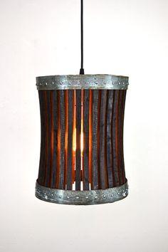 Wine Barrel Hanging Pendant Light - Basket V1R Open -100% RECYCLED from Napa Wine Barrels on Etsy, $175.00