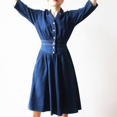 Robe en jean brut manche 3/4 Jeans, Dresses With Sleeves, Long Sleeve, Fashion, Jeans Dress, Sleeve, Moda, Full Sleeves, Fashion Styles