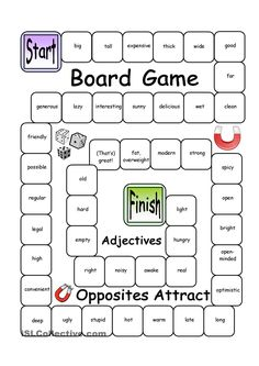 Board Game - Opposites Attract (Verbs) worksheet - Free ESL printable worksheets made by teachers Adjective Games, Adjectives Activities, Adjective Worksheet, Articulation Activities, Listening Activities, Spelling Activities, Therapy Activities, English Games, English Activities