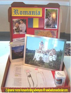 Not Back to School Geography Quest - Romania = Pizza Box. You can also do one continent in a large pizza box and store