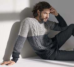 Knitting Patterns Men Model Irish Tweed Sweater by Austermann® Sweater Knitting Patterns, Knitting Designs, Tweed, Men's Waistcoat, Knitwear Fashion, Ravelry, Knit Crochet, Men Sweater, Jumper