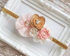 Cinta bebé rosa y oro, Blush rosa y oro la primera venda cumpleaños, cumpleaños oro rosa, oro venda, venda de la muchacha de flor