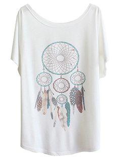 LATUD Women's Short Sleeves Vintage Dream Catcher Casual Cotton T Shirt White LATUD Women Clothes http://www.amazon.com/dp/B00UKJF3N0/ref=cm_sw_r_pi_dp_96XMvb0PHF01W