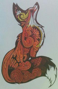 Zentangle fox.  Using stampin' up's blendabilities.