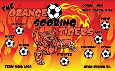Tigers-Orange-Scoring-41034 digitally printed vinyl soccer sports team banner. Made in the USA and shipped fast by BannersUSA. www.bannersusa.com