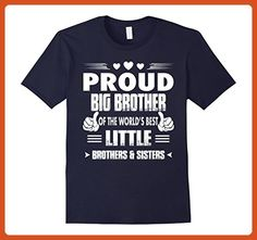 Mens PROUD BIG BROTHER OF THE BEST LITTLE BROTHERS AND SISTERS Medium Navy - Relatives and family shirts (*Partner-Link)