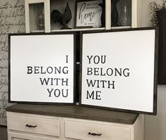 I Belong With You You Belong With Me Wood Framed Signs Set of 2, Wall Signs, Wall Signs For Home, Home Signs, Home Wall Decor, Bedroom Signs by WillowHillSigns on Etsy