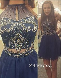 White Two Piece Chiffon Prom Dress-Teal Halter Neck Beaded Crop ...