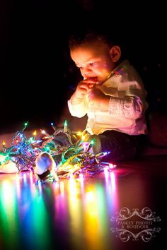 Baby with Christmas Lights | Paskey Photo & Boudoir