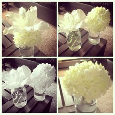 Wedding flower ideas. DIY..i think mason jars would be a good idea for vases and we can add floating flowers and lights