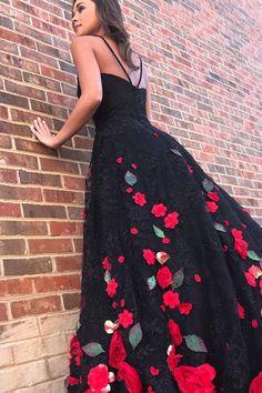 Gorgeous black flower lace long customize prom dress, black evening dress G369