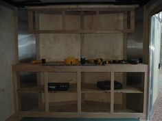 Enclosed trailer add-on's - Contractor Talk - Professional Construction and Remodeling Forum Toy Hauler Trailers, Toy Hauler Camper, Cargo Trailers, Utility Trailer, Camper Trailers, Campers, Trailer Shelving, Van Shelving, Trailer Storage