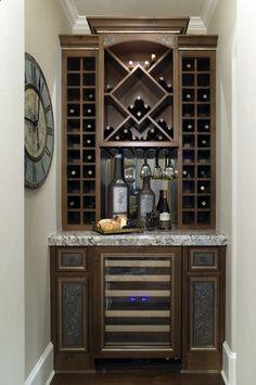 38 Ideas for home bar counter design ideas wine fridge Built In Wine Cooler, Built In Wine Rack, Wood Wine Racks, Home Design, Home Bar Designs, Design Ideas, Wine Refrigerator, Wine Fridge, Wine Rack Cabinet
