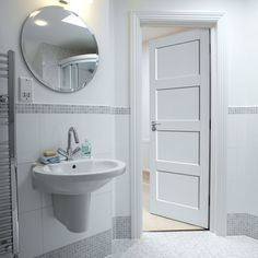 Shaker panel style white internal doors look great with any interior. JB Kind's Calypso Montserrat door. #whitedoors
