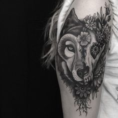I'd do this with more of a realistic wolf face, and maybe a hint of color in the flowers.