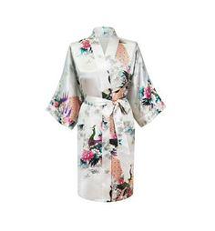 Women s Silk Satin Floral Wedding Bride Bridesmaid Robe Bathrobe 9317a1051