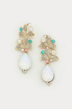 Crystal Delphi Earrings in Opalescence - dotted in pave mint, aspen and moonstone crystals, soft pearls, and opalescence crystal teardrops