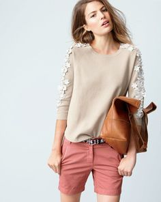 J.Crew flower sleeve sweater, worn with the Downing tote and the woven ikat belt.