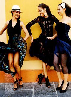 caribbean queen: joan smalls w sister Erika norman jean roy us vogue august 2012