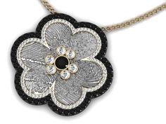LoveMark Custom Pendant with Black & Clear Diamonds by Simone & Son