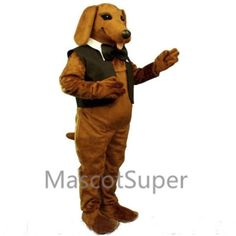 Cute Dachshund Dog with Vest & Tie Mascot Costume