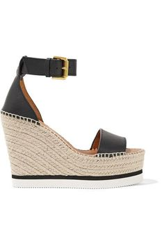 See by Chloé - Leather Espadrille Wedge Sandals - Black - IT40