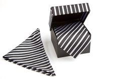 Luxe Stropdassenset Zwart-Wit-Grijs Gestreept